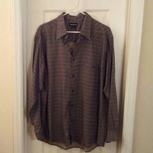 Claiborne Shirts - Claiborne Men Tan/Black Print Dress Shirt Sz Large
